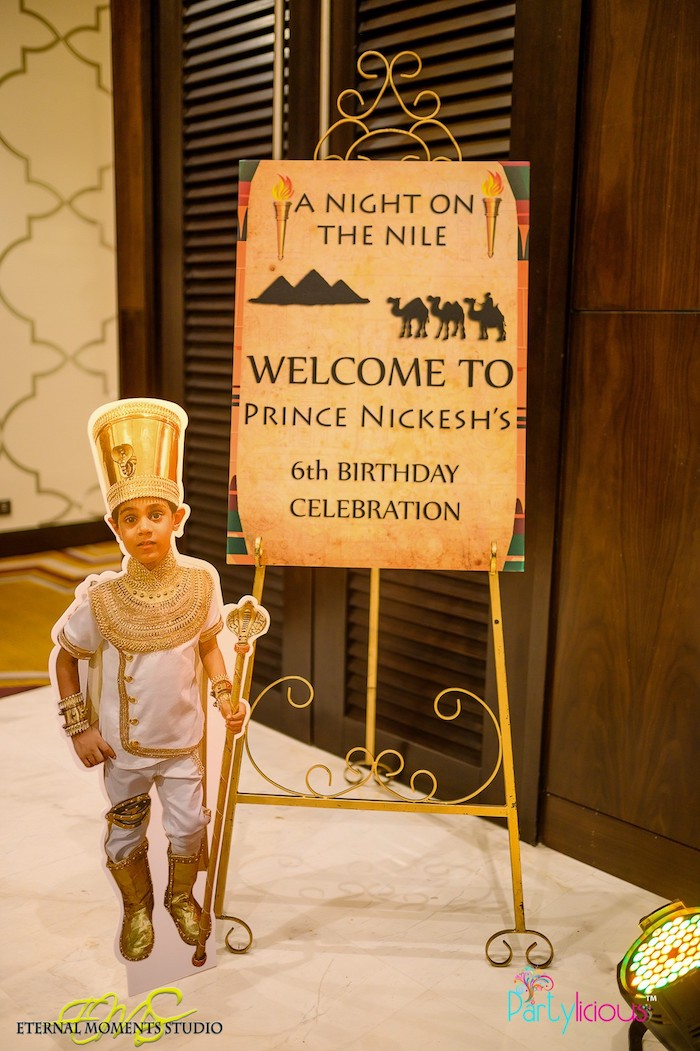 Egyptian Themed Welcome Sign from an Egyptian Themed Birthday Party on Kara's Party Ideas | KarasPartyIdeas.com (35)