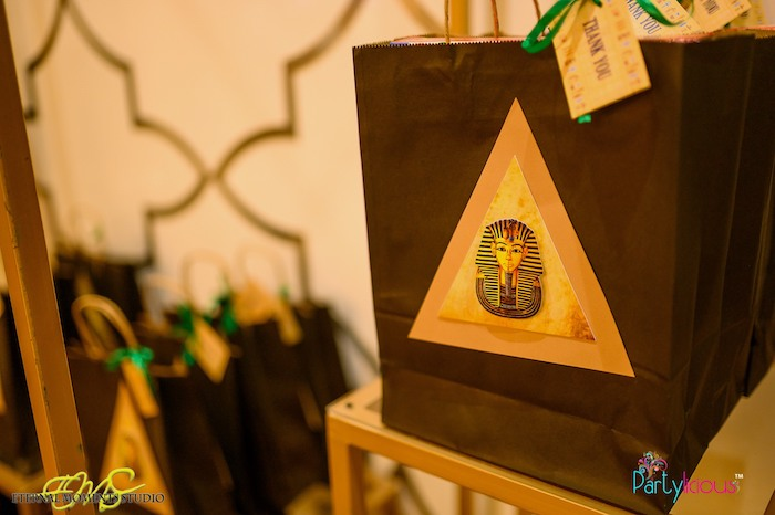 Pyramid-adorned Favor Bag from an Egyptian Themed Birthday Party on Kara's Party Ideas | KarasPartyIdeas.com (34)