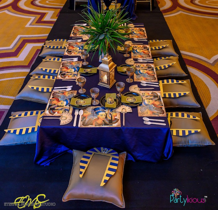 Egyptian Themed Guest Table from an Egyptian Themed Birthday Party on Kara's Party Ideas | KarasPartyIdeas.com (33)