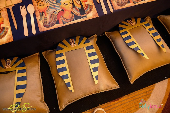Pharaoh-crowned Pillow Seats from an Egyptian Themed Birthday Party on Kara's Party Ideas | KarasPartyIdeas.com (32)