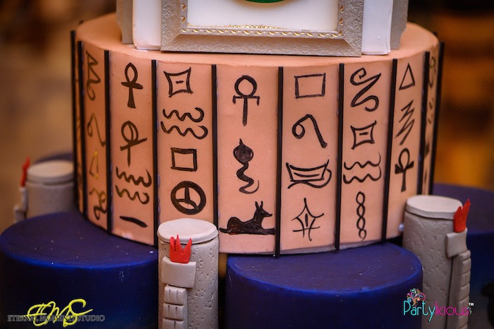 Egyptian Hieroglyphics Cake Layer from an Egyptian Themed Birthday Party on Kara's Party Ideas | KarasPartyIdeas.com (76)
