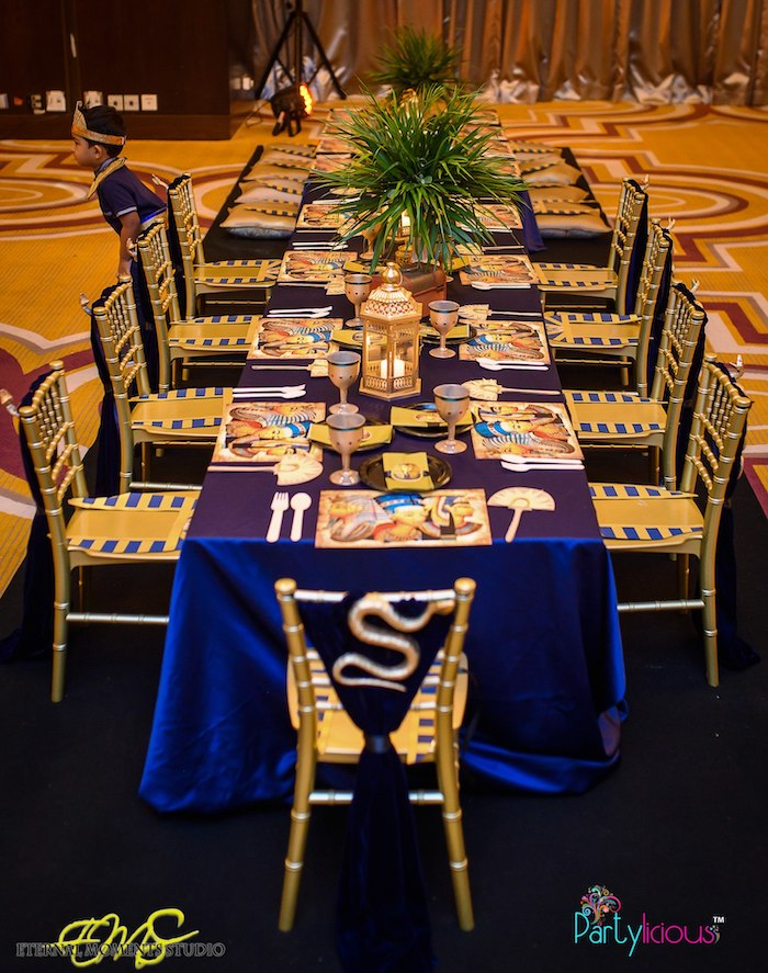Egyptian Themed Guest Table from an Egyptian Themed Birthday Party on Kara's Party Ideas | KarasPartyIdeas.com (31)