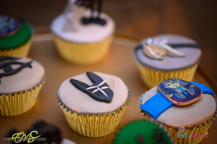 Egyptian Themed Cupcakes from an Egyptian Themed Birthday Party on Kara's Party Ideas | KarasPartyIdeas.com (27)