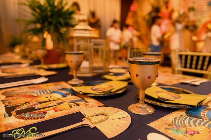 Egyptian Themed Guest Tablescape from an Egyptian Themed Birthday Party on Kara's Party Ideas | KarasPartyIdeas.com (20)