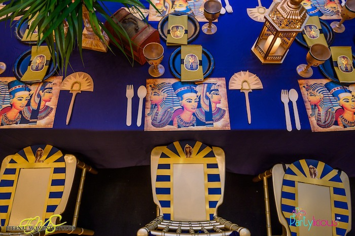 Egyptian Themed Guest Table from an Egyptian Themed Birthday Party on Kara's Party Ideas | KarasPartyIdeas.com (15)