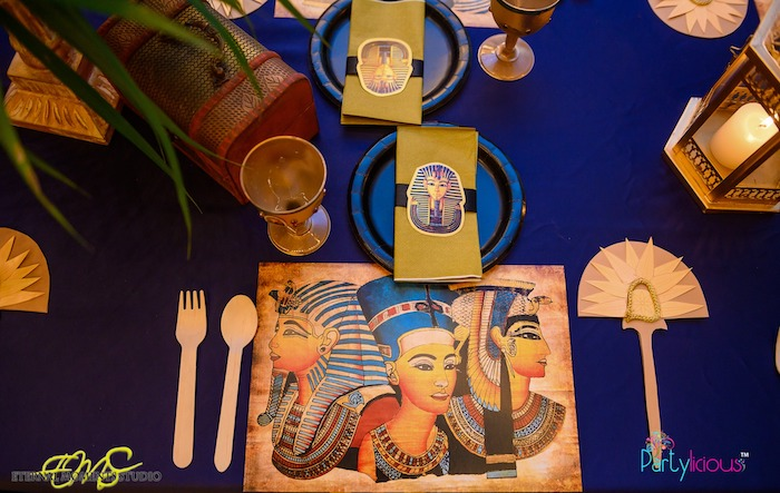 Egyptian Themed Table Setting from an Egyptian Themed Birthday Party on Kara's Party Ideas | KarasPartyIdeas.com (12)