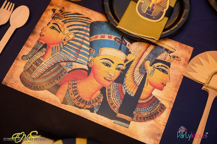 Egyptian Royalty Placemat from an Egyptian Themed Birthday Party on Kara's Party Ideas | KarasPartyIdeas.com (74)