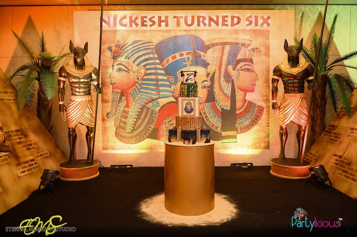 Anubis Guarded Cake Pedestal from an Egyptian Themed Birthday Party on Kara's Party Ideas | KarasPartyIdeas.com (8)