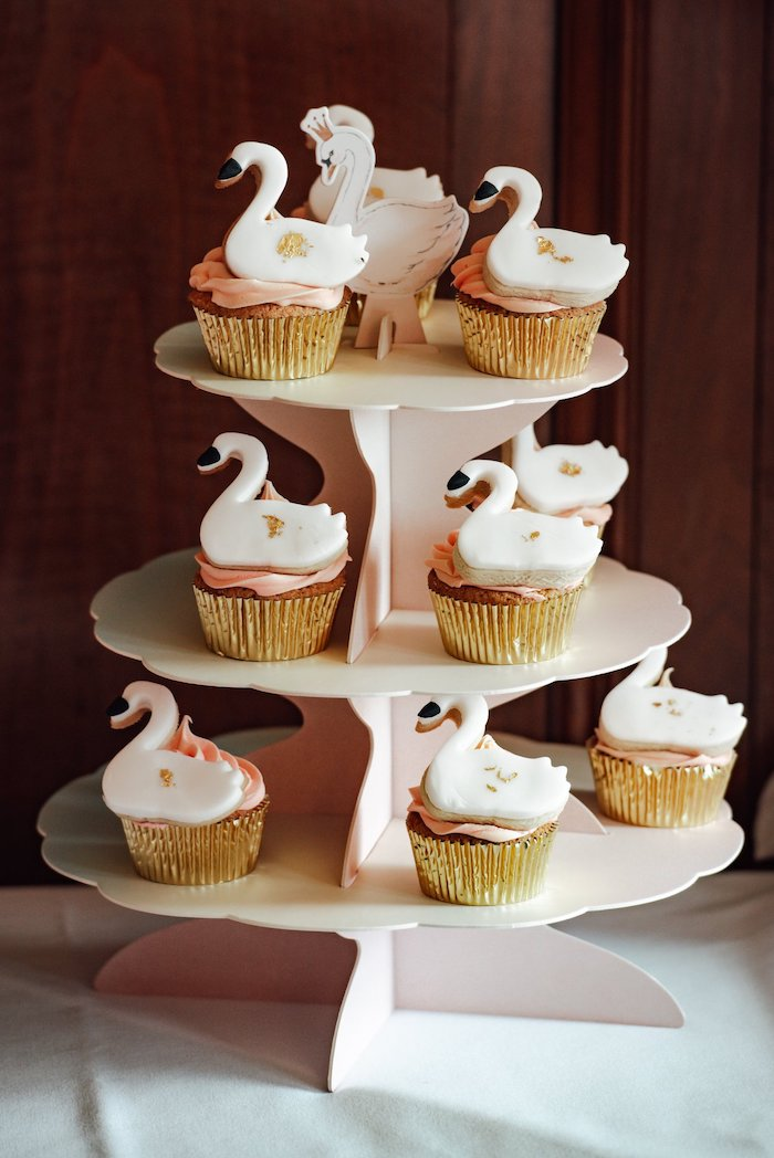 Swan Cookie Cupcakes from an Elegant Swan Soiree on Kara's Party Ideas | KarasPartyIdeas.com (5)