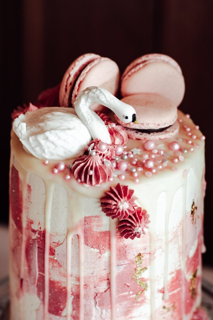 Pink + White Swan Cake from an Elegant Swan Soiree on Kara's Party Ideas | KarasPartyIdeas.com (11)
