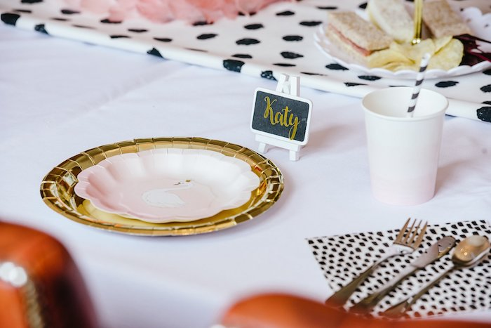 Gold, black and white table setting from an Elegant Swan Soiree on Kara's Party Ideas | KarasPartyIdeas.com (9)