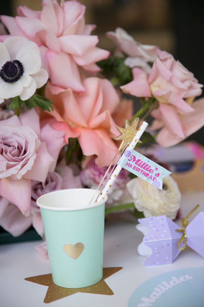 Pastel Paper Cup placed on a Gold Star from a Friendship is Magic Birthday Party on Kara's Party Ideas | KarasPartyIdeas.com (34)