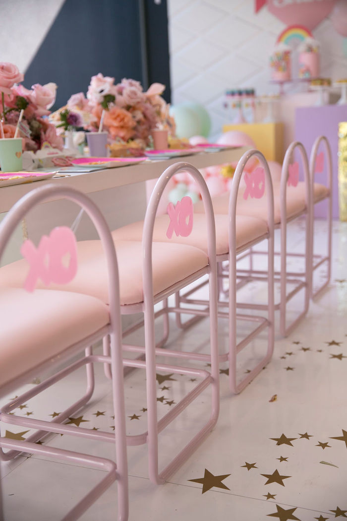 Pink Chairs/Stools from a Friendship is Magic Birthday Party on Kara's Party Ideas | KarasPartyIdeas.com (30)