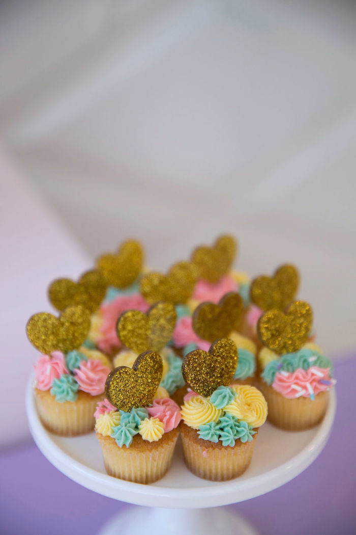 Cupcakes with Glitter Heart Toppers from a Friendship is Magic Birthday Party on Kara's Party Ideas | KarasPartyIdeas.com (17)