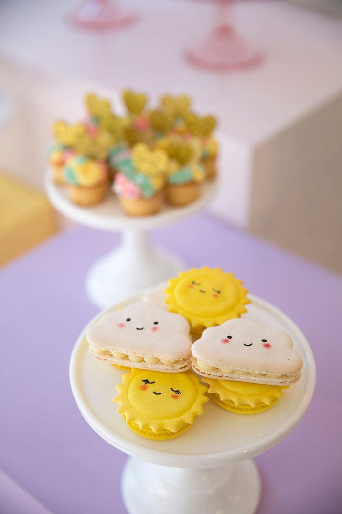 Sun + Cloud Macarons from a Friendship is Magic Birthday Party on Kara's Party Ideas | KarasPartyIdeas.com (16)