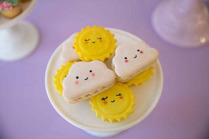 Sun + Cloud Macarons from a Friendship is Magic Birthday Party on Kara's Party Ideas | KarasPartyIdeas.com (15)