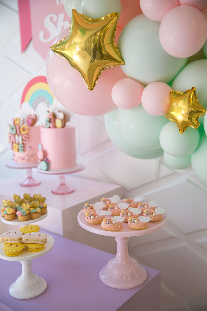 Pastel Pedestal Dessert Tables from a Friendship is Magic Birthday Party on Kara's Party Ideas | KarasPartyIdeas.com (14)