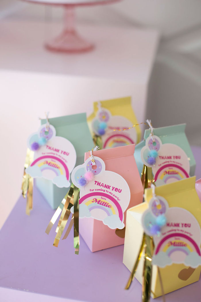 Pastel Favor Boxes adorned with Rainbow Tags from a Friendship is Magic Birthday Party on Kara's Party Ideas | KarasPartyIdeas.com (11)