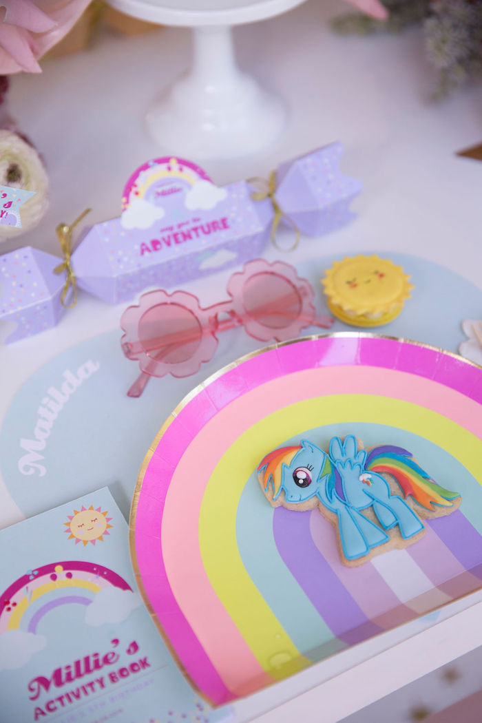 Rainbow-plated My Little Pony Table Setting from a Friendship is Magic Birthday Party on Kara's Party Ideas | KarasPartyIdeas.com (42)