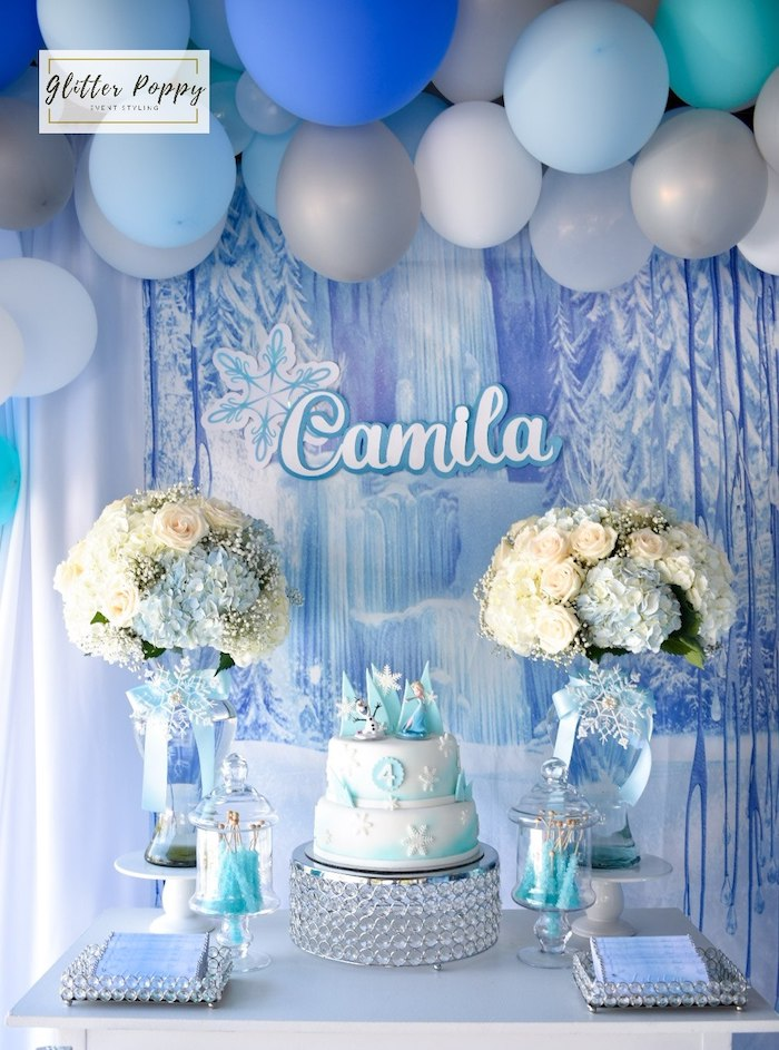 Frozen Themed Cake Table from a Frozen Birthday Party on Kara's Party Ideas | KarasPartyIdeas.com (17)