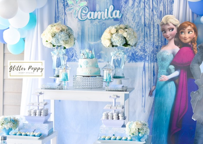 Frozen Themed Dessert Table from a Frozen Birthday Party on Kara's Party Ideas | KarasPartyIdeas.com (15)