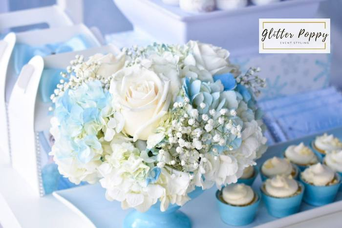 White and Blue Floral Arrangement from a Frozen Birthday Party on Kara's Party Ideas | KarasPartyIdeas.com (13)