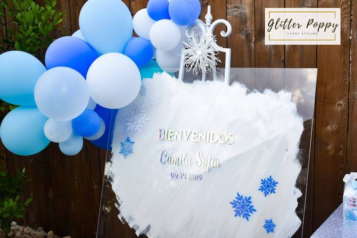 Frozen Themed Acrylic Welcome Sign from a Frozen Birthday Party on Kara's Party Ideas | KarasPartyIdeas.com (11)