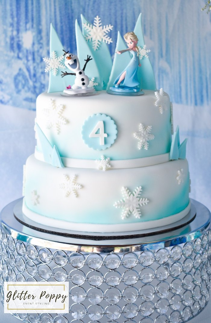 Frozen Themed Cake from a Frozen Birthday Party on Kara's Party Ideas | KarasPartyIdeas.com (6)