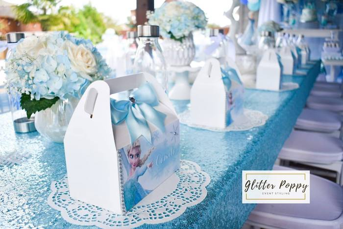 Doily and Gable Box Table Setting from a Frozen Birthday Party on Kara's Party Ideas | KarasPartyIdeas.com (5)