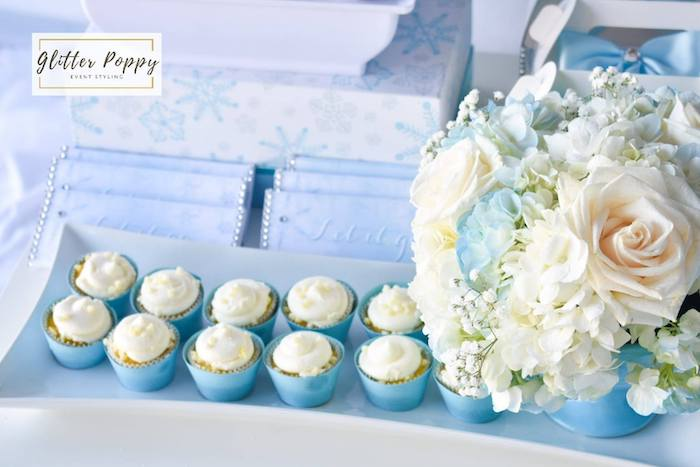 White-iced Cupcakes from a Frozen Birthday Party on Kara's Party Ideas | KarasPartyIdeas.com (3)