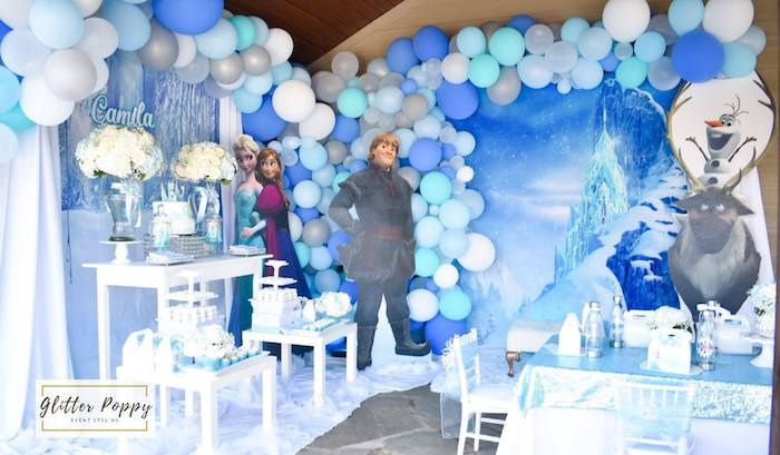 Frozen Themed Party Tables + Backdrop from a Frozen Birthday Party on Kara's Party Ideas | KarasPartyIdeas.com (24)