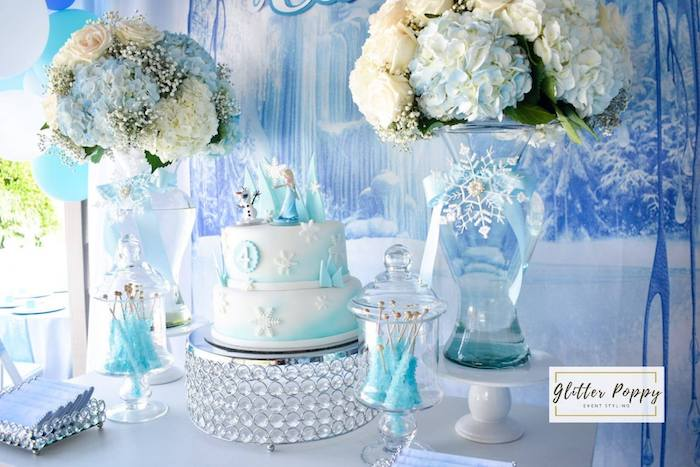 Frozen Themed Cake Table from a Frozen Birthday Party on Kara's Party Ideas | KarasPartyIdeas.com (23)