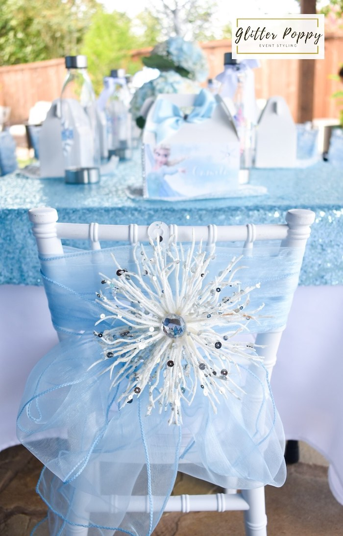 Snowflake-adorned Chair from a Frozen Birthday Party on Kara's Party Ideas | KarasPartyIdeas.com (21)