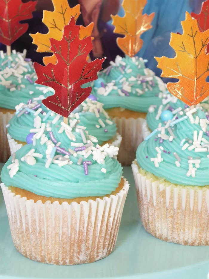 Winter-inspired Cupcakes with Leaf Toppers from a Frozen Themed Hot Chocolate & Dessert Bar on Kara's Party Ideas | KarasPartyIdeas.com (18)