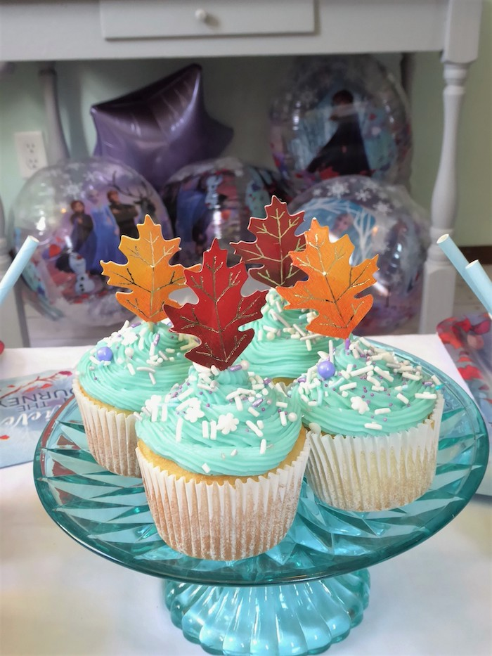 Winter-inspired Cupcakes with Leaf Toppers from a Frozen Themed Hot Chocolate & Dessert Bar on Kara's Party Ideas | KarasPartyIdeas.com (17)