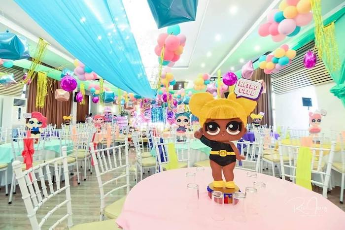 LOL Surprise Doll Guest Table + Centerpiece from a Glitter-ific LOL Surprise Birthday Party on Kara's Party Ideas | KarasPartyIdeas.com (7)