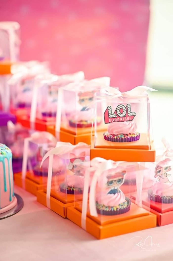 LOL Surprise Favor Cupcakes from a Glitter-ific LOL Surprise Birthday Party on Kara's Party Ideas | KarasPartyIdeas.com (16)