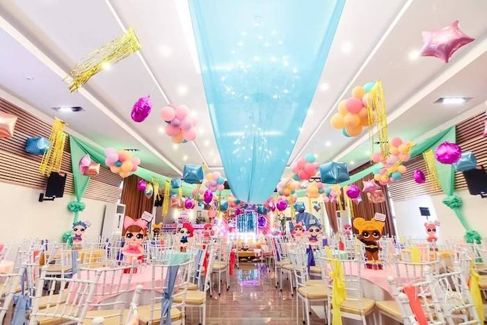 Guest Tables + Balloon Ceiling Decor from a Glitter-ific LOL Surprise Birthday Party on Kara's Party Ideas | KarasPartyIdeas.com (15)