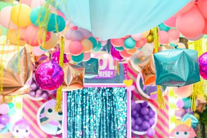 Hanging Balloons + Bunting from a Glitter-ific LOL Surprise Birthday Party on Kara's Party Ideas | KarasPartyIdeas.com (14)