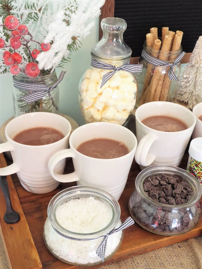 Hot Cocoa and toppings from a DIY Christmas Hot Cocoa Bar on Kara's Party Ideas | KarasPartyIdeas.com