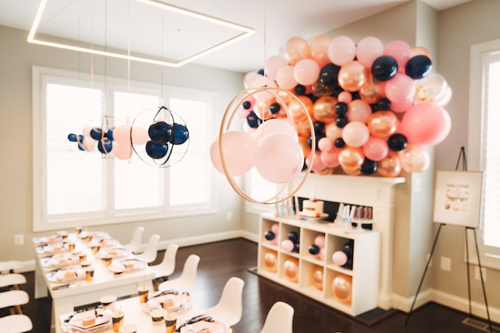 Balloon Hoop Decorations from a Modern Glamorous Science Party on Kara's Party Ideas | KarasPartyIdeas.com (21)