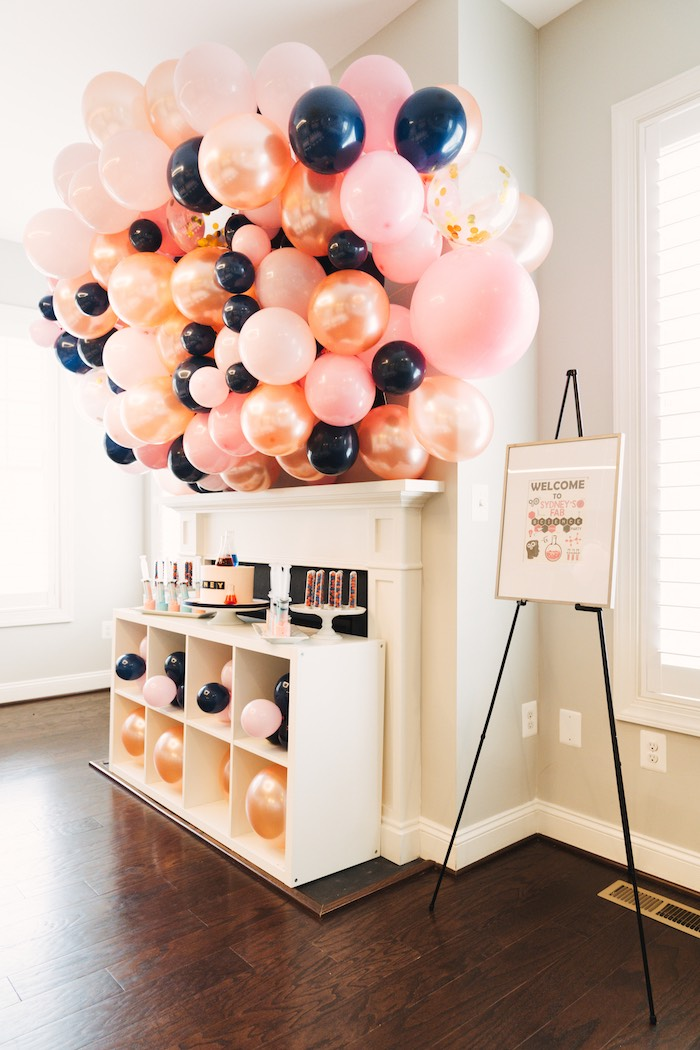 Balloon-filled Cake Table from a Modern Glamorous Science Party on Kara's Party Ideas | KarasPartyIdeas.com (20)