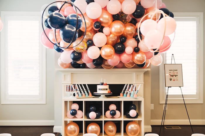 Science Themed Cake Table from a Modern Glamorous Science Party on Kara's Party Ideas | KarasPartyIdeas.com (19)