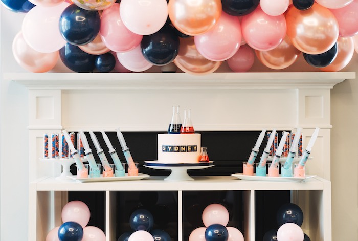 Science Themed Cake Table from a Modern Glamorous Science Party on Kara's Party Ideas | KarasPartyIdeas.com (18)