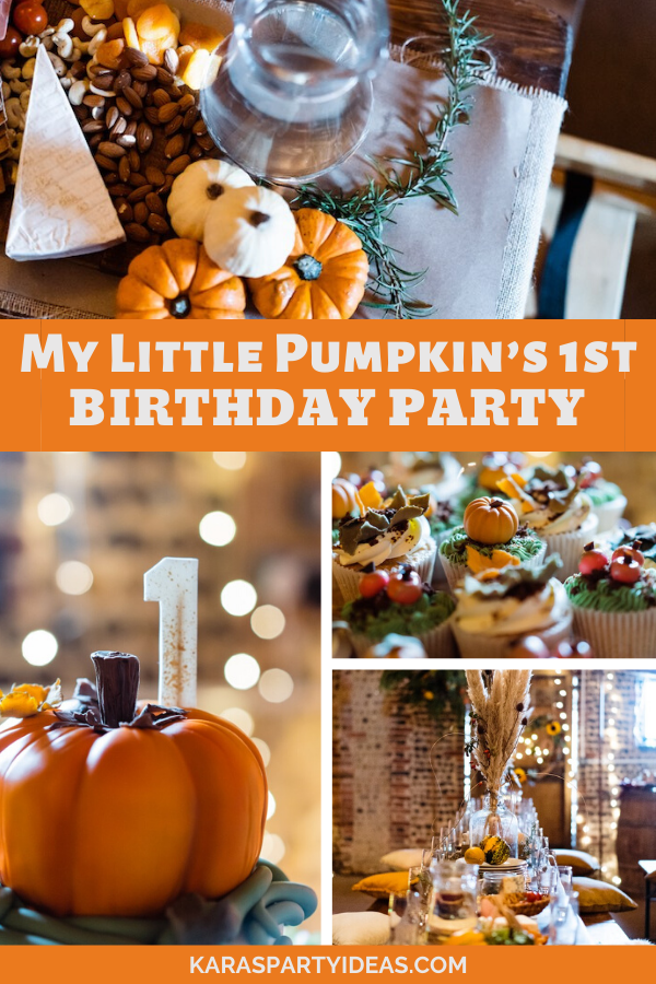 My Little Pumpkin's 1st Birthday Party via Kara's Party Ideas - KarasPartyIdeas.com