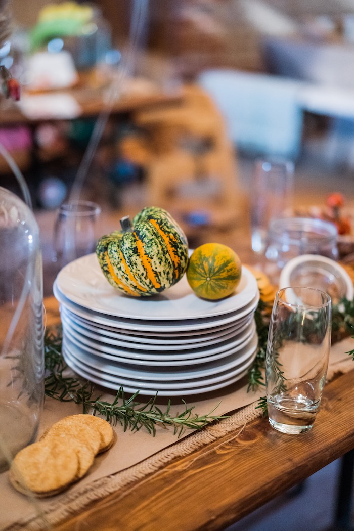 Plate Stack with Mini Squash + Pumpkins from a My Little Pumpkin's 1st Birthday Party on Kara's Party Ideas | KarasPartyIdeas.com (13)