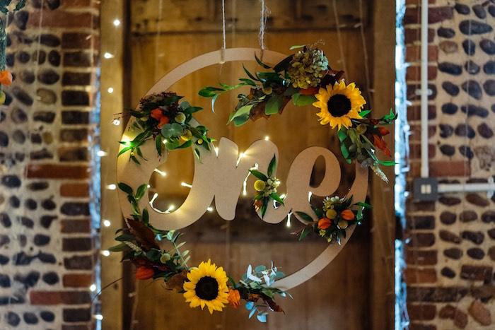 ONE - Sunflower Hoop Wreath from a My Little Pumpkin's 1st Birthday Party on Kara's Party Ideas | KarasPartyIdeas.com (20)