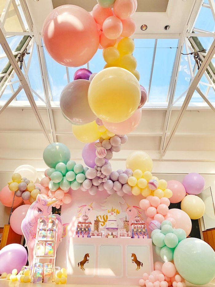Unicorn Dessert Table + Balloon Installation from a Pastel Unicorn Birthday Party on Kara's Party Ideas | KarasPartyIdeas.com (14)