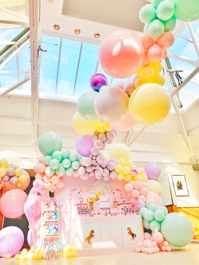 INCREDIBLE Pastel Balloon Installation from a Pastel Unicorn Birthday Party on Kara's Party Ideas | KarasPartyIdeas.com (13)