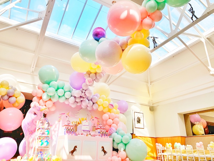 INCREDIBLE Pastel Balloon Installation from a Pastel Unicorn Birthday Party on Kara's Party Ideas | KarasPartyIdeas.com (12)
